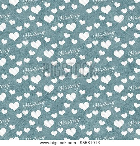 Blue And White I Love Writing Tile Pattern Repeat Background