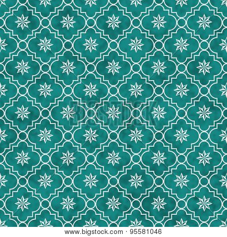 Teal And White Eight Pointed Pinwheel Star Symbol Tile Pattern Repeat Background