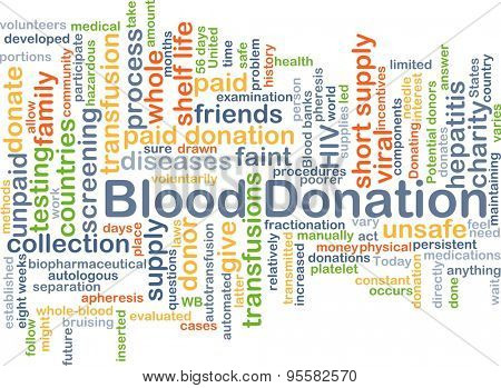Background concept wordcloud illustration of blood donation
