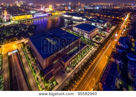 Tianjin,China-May 21,2015:Illuminated skyline and cityscape of tianjin at night.