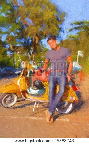 Handsome brunet young man in casual clothing near yellow scooter
