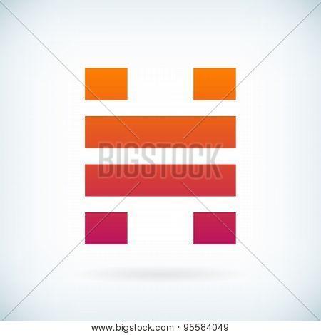 Stripes Letter H Icon Design Element Template
