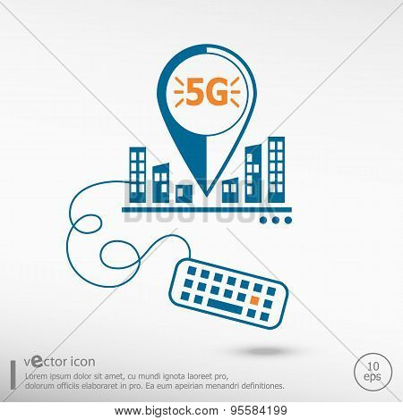 5G Sign And Keyboard.