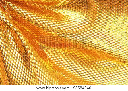 golden sparkle fabric texture macro