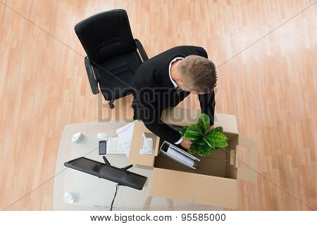 Businessman Packing Belongings In Cardboard Box