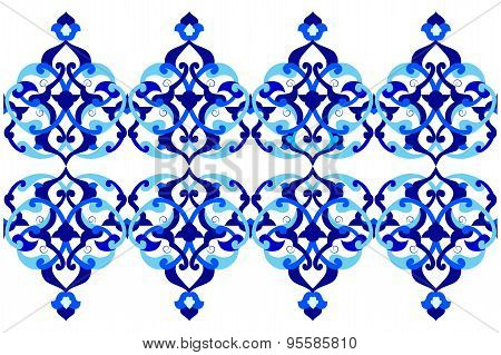 Designed With Shades Of Blue Ottoman Pattern Series Three