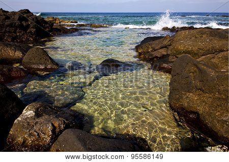 Froth Coastline In Lanzarote Spain     Musk  And Summer