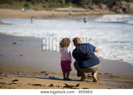 Father And Daughter Enjoying The Beach 049