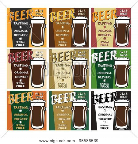 Vector Set Design Beer Tasting With Special Offer