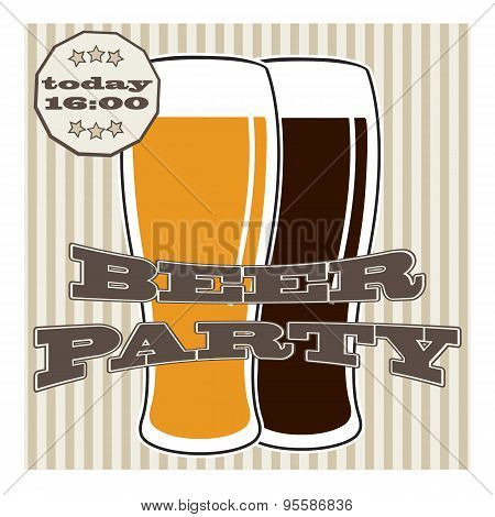 Vector Beer Glasse With Lettering On Retro Background With Lines