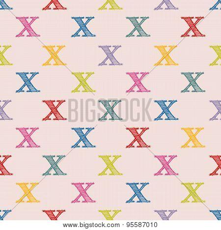 Scribbled X Letter Pattern Design