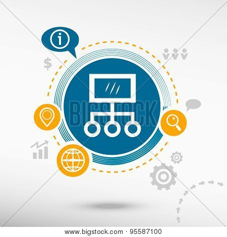 Internet Community And Social Network  Illustration.