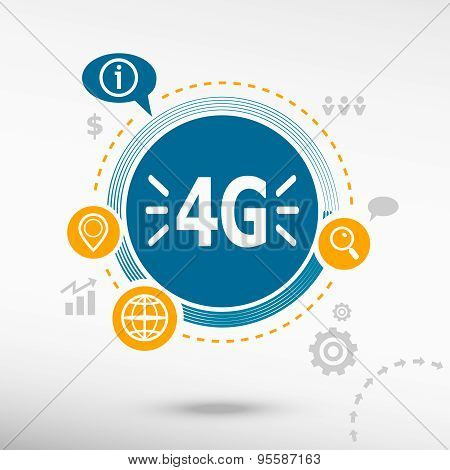 4G Sign Icon. Creative Design Elements.