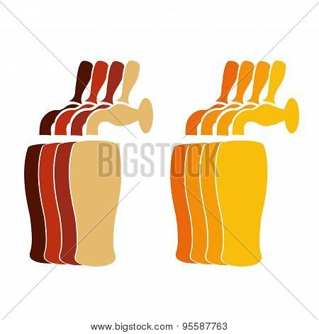 Vector Silhouette Beer Faucets With Glasses In Colors