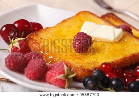 Sweet French Toast With Syrup And Fresh Berries Close-up