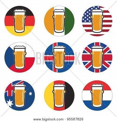 Vector Set Beer Glass With Beer On Background Round National Flags