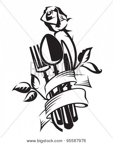 monochrome illustration of knife, fork, spoon and rose
