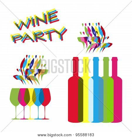 Vector Concept Elements For Wine Party In Contrast Colors