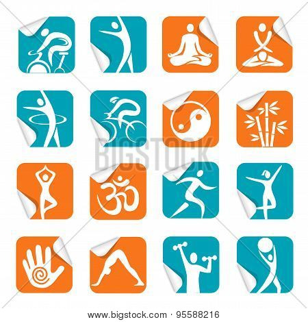 Square Sticker With Yoga Spa Fitness
