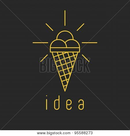 The Creative Idea Of An Icon In The Form Of Ice Cream Instead Of A Glowing Light Bulb