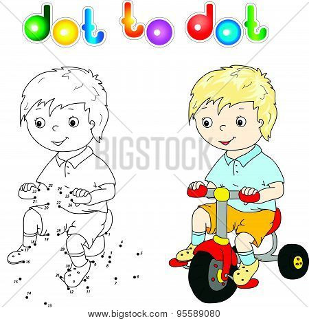 Small Cute Boy Riding A Bicycle
