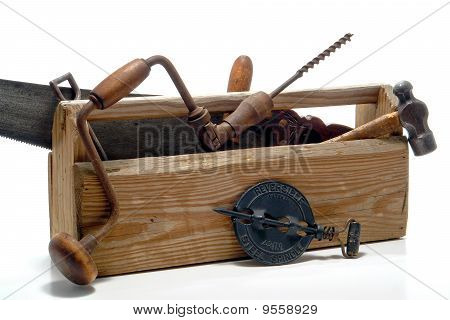 Antique Tools In An Old Vintage Toolbox
