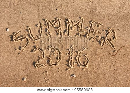 Summer 2016 Written On The Sand In The Rays Of The Sun