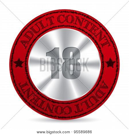 Red Adult Content Badge With Metallic 18 Number