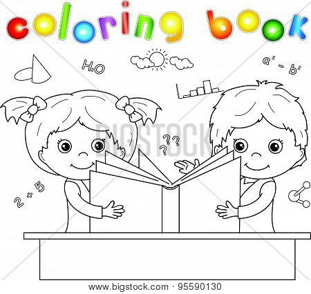 Boy And Girl Reading Book Together. Vector Illustration For Children