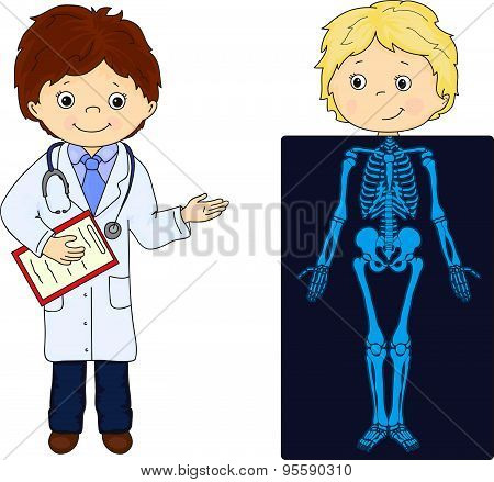 Doctor And Patient Whose Body Is Shown In The X-ray