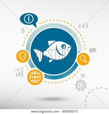 Fish Symbol And Creative Design Elements.