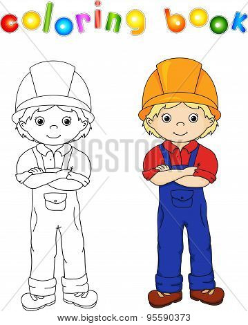 Worker In Overalls And Helmet. Coloring Book. Game For Children