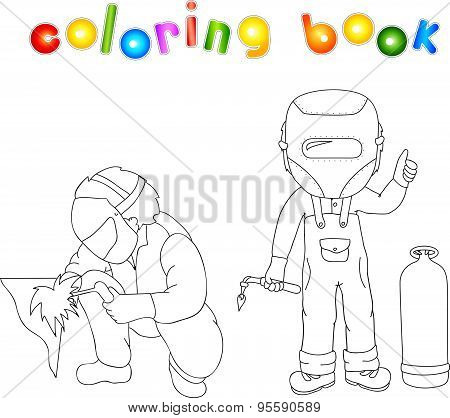 Welder In The Mask And Robe With A Gas Burner In His Hand And Gas Bottle Near Him. Coloring Book
