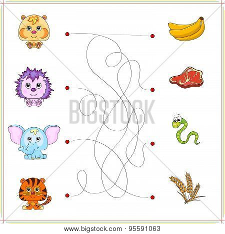 Hamster, Hedgehog, Elephant And Tiger With Their Food (banana, Meat, Snake, Worm, Corn)