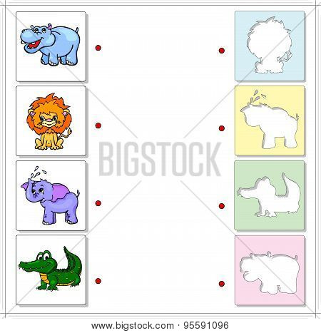 Hippo, Lion, Elephant And Crocodile. Educational Game For Kids