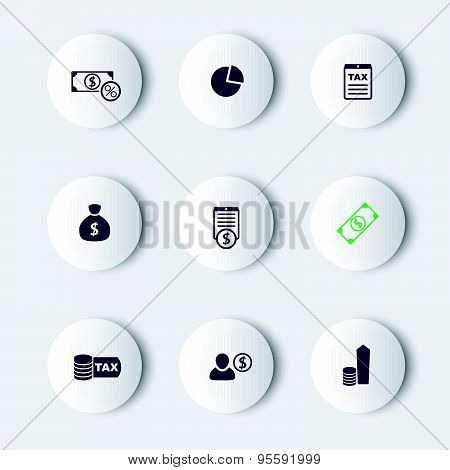tax, finance, money, income round modern icons, vector illustration, eps10, easy to edit