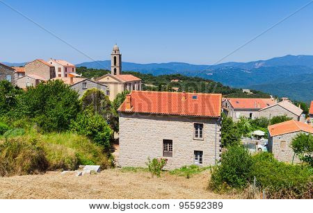 Corsican Village, Living Houses And Bell Tower