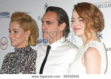 LOS ANGELES - JUL 9:  Parker Posey, Joaquin Phoenix, Emma Stone at the
