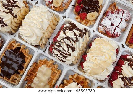 Street Waffles Of Brussels Dressed With Strawberries Chocolate And Cream