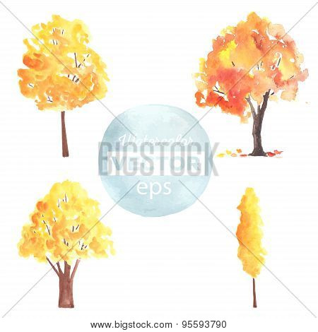 Watercolor autumn trees made in vector