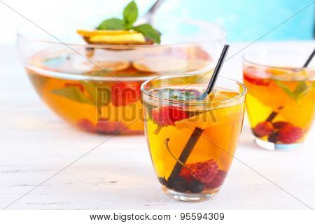 Fruity punch in glassware