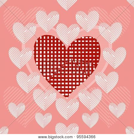 Seamless Background Of Stylish Patchwork Hearts