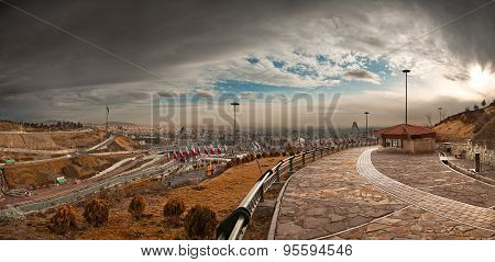 Tehran Panorama From Nahjolbalagheh Park On A Sunny Overcast Day