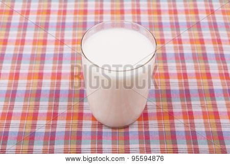 Glass Of Milk On The Tablecloth.