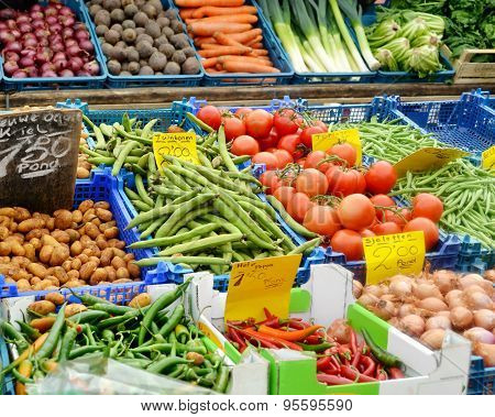 Vegetables at the grocery market