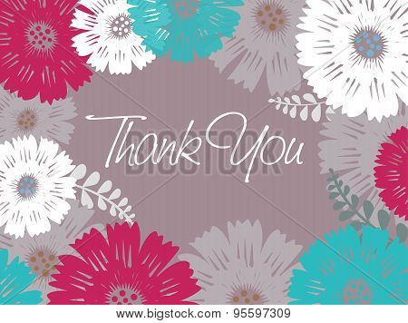 Postcard - Thank you - colored flowers