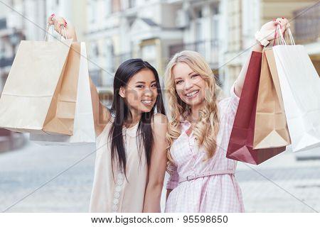 Two friend having fun at shopping