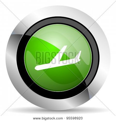 arrivals icon, green button, plane sign
