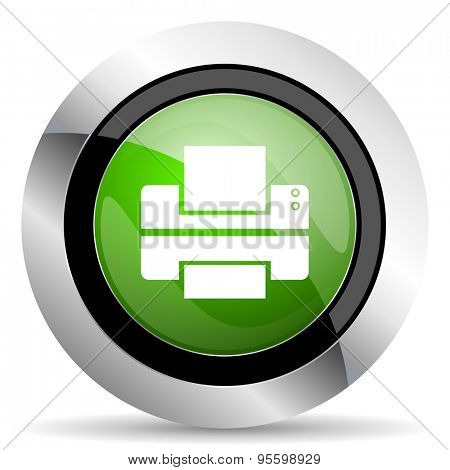 printer icon, green button, print sign