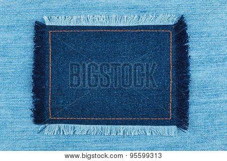 Frame Of  Denim  With Fringe With Place For Your Text
